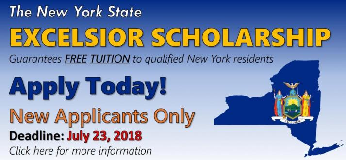 Picture of New York State; reminder to apply for the NYS Excelsior Scholarship