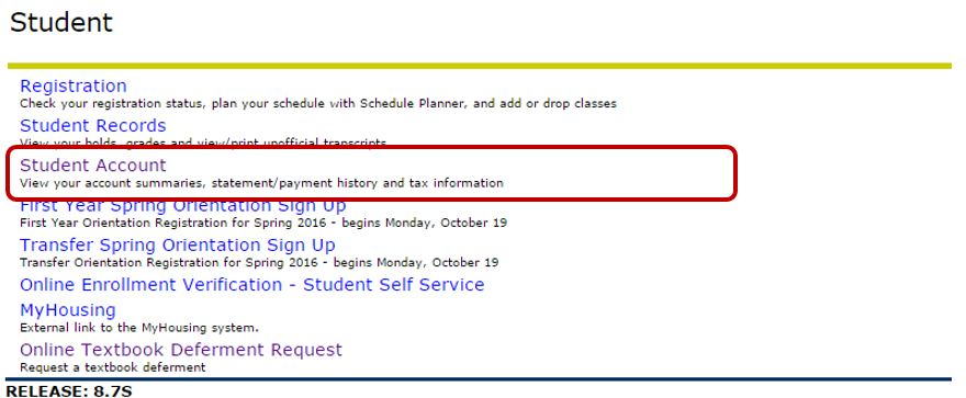 "The Student Menu in Banner with ""Student Account"" circled."