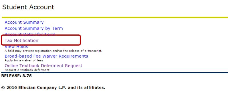 "The Student Account menu in Banner with ""Tax Notification"" circled."