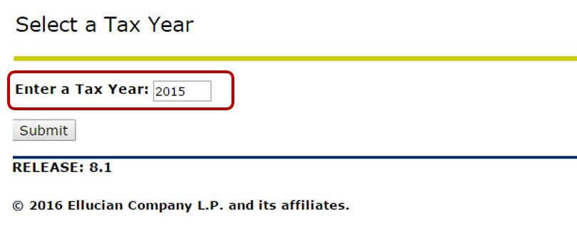 Select a Tax Year Screen with the drop down box circled.