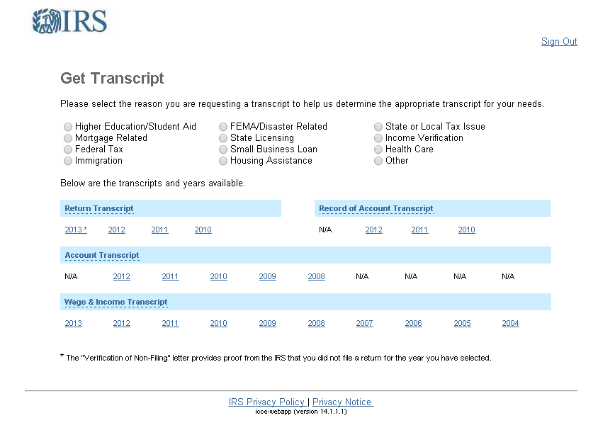 IRS Website to Request Transcript