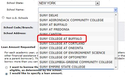 SUNY College at Buffalo from Dropdown menu